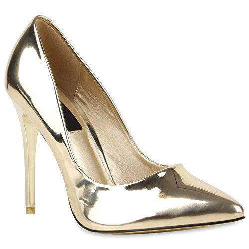 Stiefelparadies Spitze Damen Pumps Stiletto High Heels Lack Leder-Optik Schuhe Elegante Absatzschuhe Party Abendschuhe Abiball Flandell Gold Lack