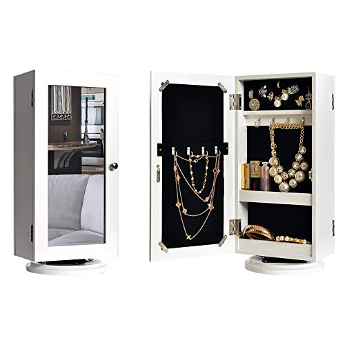 - DELMANGO Desktop Jewelry Storage Cabinet Table with Mirror,Rotatable Makeup Cabinet in Top,Double Door Sided Countertop Cabinet,White