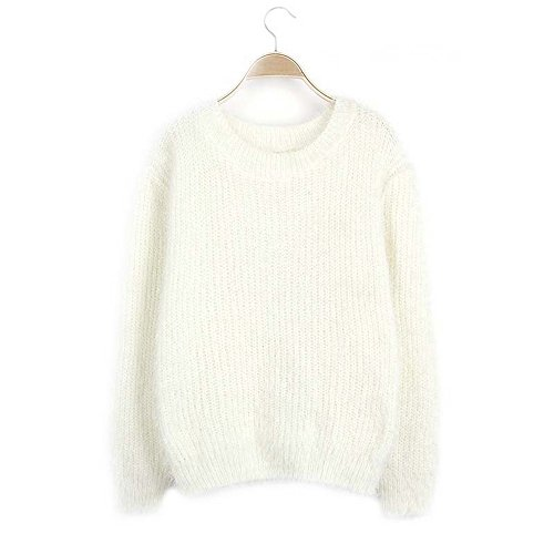 Blanc Hiver Casual Dihope Sweater Col Vrac Chandail Pull Lache Manches Femme Rond Automne Longues Pull en BFZEFq