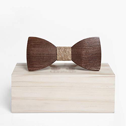 ALXDR Wooden Bowtie, Walnut Wood Bowtie with Wood Box, Mens Simple Bow Tie for Anniversary Birthday Wedding Groomsmen