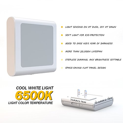 MAZ-TEK Plug-in Led Night Light with Auto Dusk to Dawn Sensor,Adjustable Brightness Cool White Lights for Hallway,Bedroom, Kids Room, Kitchen, Stairway, 2 Pack