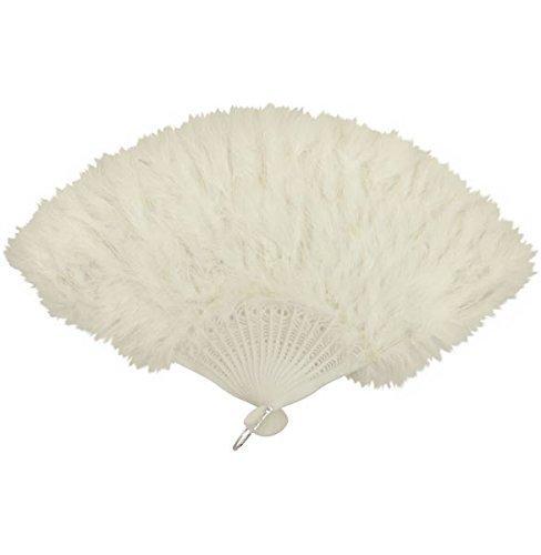 Feather Hand Fan Ladies Burlesque Fancy Dress Costume (Burlesque Costumes White)