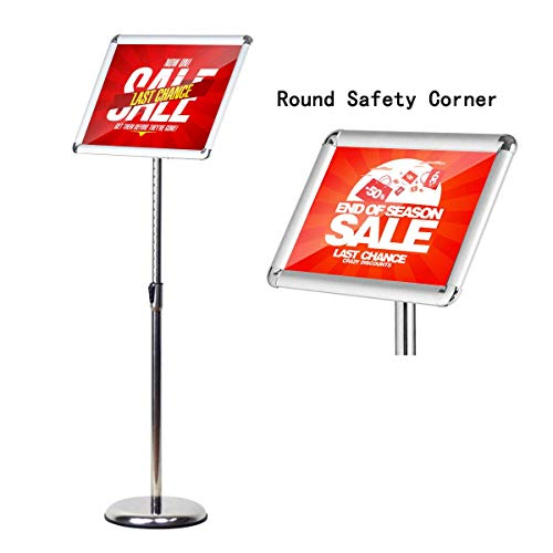 Base Round Hinged (HUAZI Pedestal Standing Sign Holder Adjustable Sign Stand Floor fit for 8.5x11 inches,Heavy Round Base,Both Vertical & Horizontal View Displayed,Snap-Open Frame with Safety Corner,Silver)