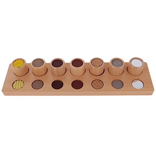 MagiDeal Montessori Wood Texture Cylinders Touch Rough and Smooth Column