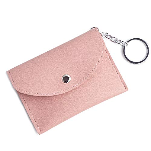 FALE Lovely Lady Pink Leather Squeeze Coin Purse Slim Card Case Holder With Key Ring ... (Coin Pink Keychain Purse)