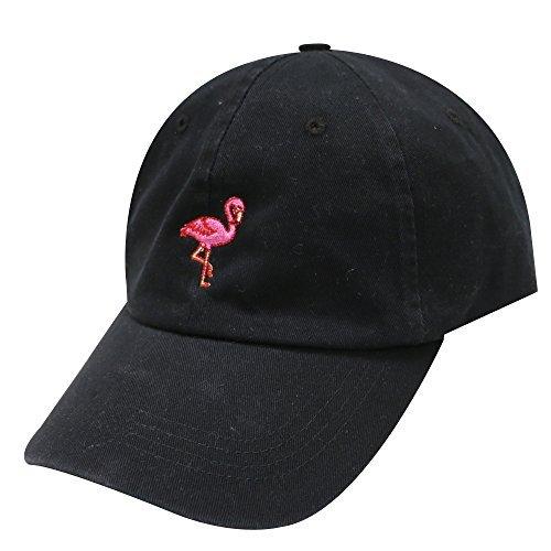 City Hunter C104 Flamingo Small Embroidery Cotton Baseball Cap 13 Colors (Black)