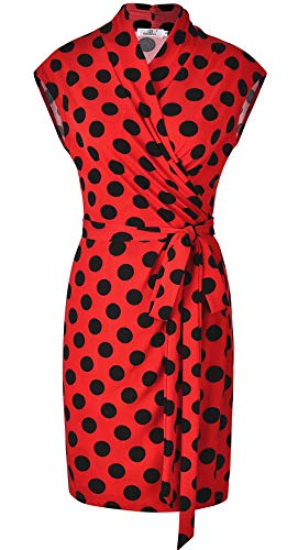 MISS MOLY Wrap Dress for Women Sleeveless Above The Knee V Neck Polka Dots Dresses with Belt-Red