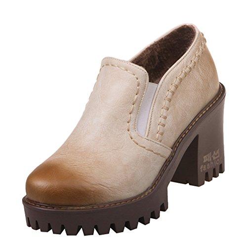 Latasa Femmes Bloc Talons Hauts Glisser Sur Mocassins Chaussures Beige