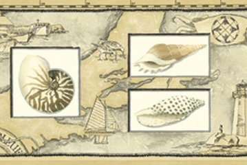 Lighthouse Map with Seashells Wallpaper Border...