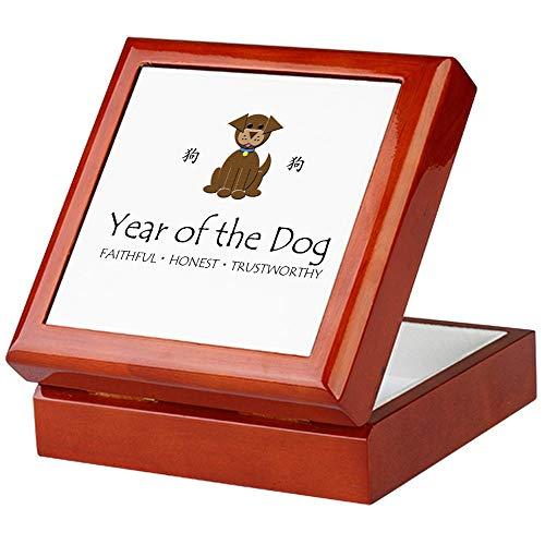 CafePress Year of The Dog Keepsake Box, Finished Hardwood Jewelry Box, Velvet Lined Memento ()