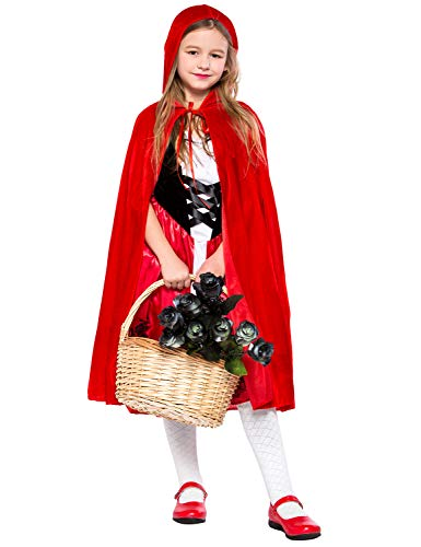 Girls Classic Red Riding Hood Costume Red Dress with Hooded Cape -