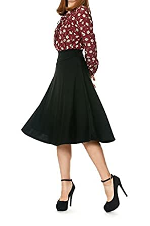 Stretch High Waist A-line Flared Long Skirt (S, Black)