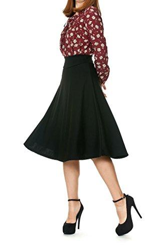 Stretch High Waist A-line Flared Long Skirt (S, Black)