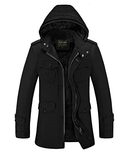 Cresay Men's Long Hooded Thick Trench Coat Winter Outwear Jackets Padded Jacket-blackUS M/tag XL