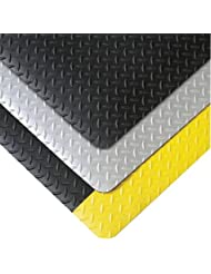 Superior Manufacturing Notrax 5 X 75 Black And Yellow 9 16 Thick Vinyl Cushion Trax Dry Area Safety Anti Fatigue Floor Mat