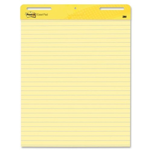 Wholesale CASE of 5 - 3M Post-it Faint Rule Easel Pad-Easel Pad,Self-stick,Lined,30 Sheets,25''x30'', 2/CT, Yellow