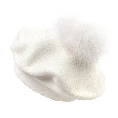 White French Hat - Fox Fur Pom Pom Beanies Winter Knit Cashmere Women Warm Hats (White, B)