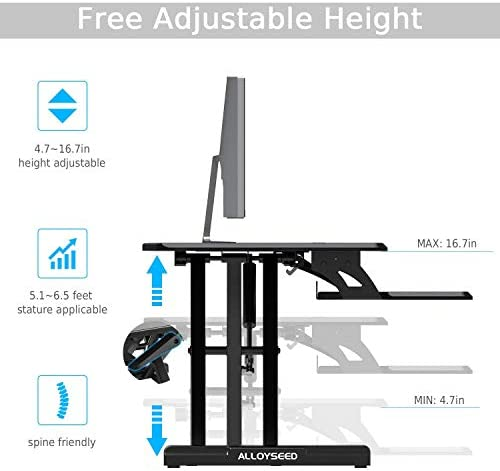VersaDesk Power Pro – 36 Electric Height-Adjustable Desk Riser – Sit to Stand Desktop with Keyboard and Mouse Tray – Black