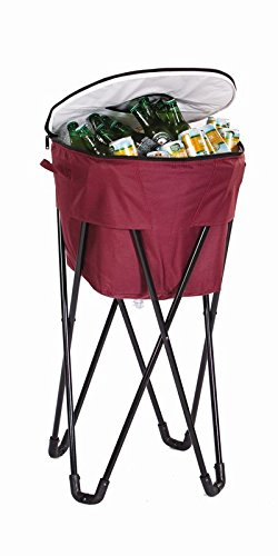 Insulated Tub Cooler - Picnic Plus 72 Can Insulated, Leakproof Tub Cooler with Stand and Travel Bag Maroon-Garnet