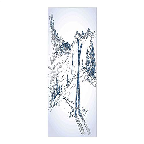 3D Decorative Film Privacy Window Film No Glue,Winter Decorations,Sketchy Graphic of a Downhill with Ski Elements in Snow Relax Calm View,Blue White,for Home&Office ()