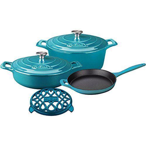 La Cuisine LC 2875MB PRO 6-Piece Enameled Cast Iron Cookware Set in High Gloss Teal (Round Casserole/Trivet), ()