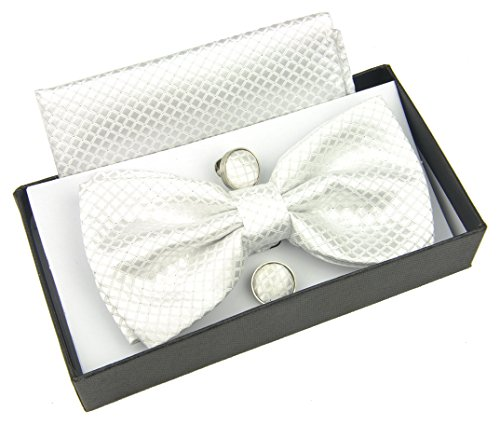 HYACINTH Men's Formal Checkered Pre-tied Bow Tie & Handkerchief & Cufflinks Set (White) (Tie White Set Bow)