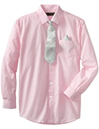 American Exchange  Boys' Dress Shirt with Tie and Pocket Square