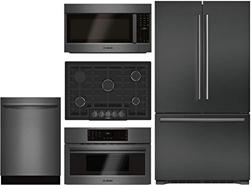 "Bosch 5 Piece Kitchen Package with B21CT80SNB 36""French Door Refrigerator,NGM8046UC 30"" Gas Cooktop,HMV8044U 30"" Microwave,HMC80242UC 30"" Electric and SHXM78W54N 24"" Built In Dishwasher."
