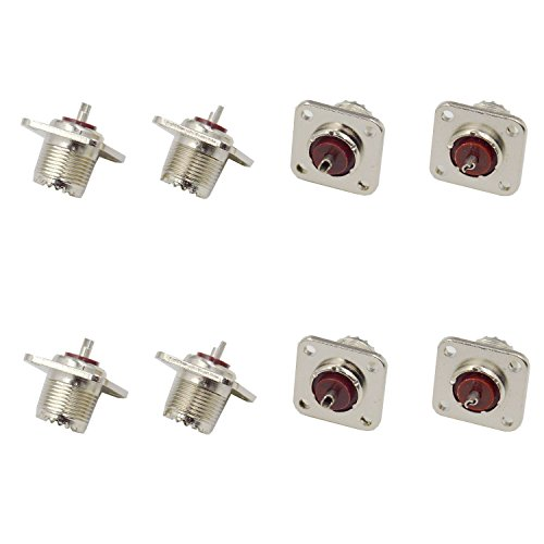 - DerBlue 8 PCS UHF Female Jack Solder SO-239 4-Hole Chassis Mount Coax RF Connector
