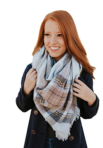 Water Gypsy Trendy Fashion Plaid Scarf Oversized Blanket Shawl for Winter ()