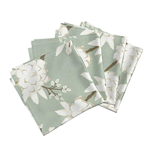 Roostery Gold Metallic Spa Chinoiserie Floral Asian Peony Linen Cotton Dinner Napkins Chinoiserie in Spa by Willowlanetextiles Set of 4 Dinner Napkins by Roostery