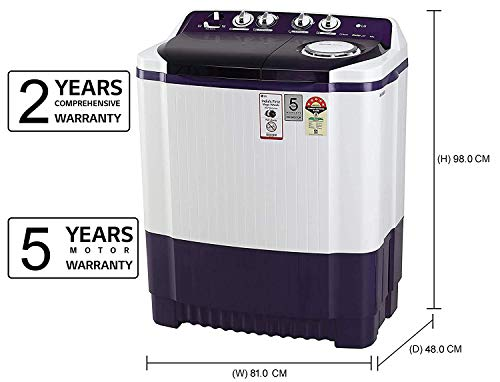 LG 8 Kg 5 Star Semi-Automatic Top Loading Washing Machine (P8035SPMZ, Purple, Collar Scrubber) 2021 June Semi-automatic washing Machine: Economical, Low water and energy consumption, involves manual effort; Has both washing and drying functions Capacity 8.0 kg (wash): Suitable for large families Energy rating 5 Star