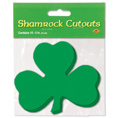 Printed Shamrock Cutouts Party Accessory (1 Count) (10/pkg) Pkg/3