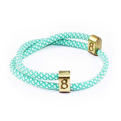 st8te Men's & Women's Adjustable Rope Bracelets - White/Green Rope (Gold Slider)