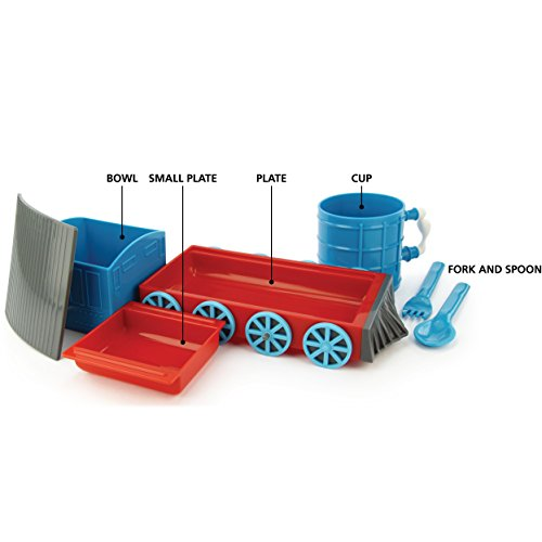 KidsFunwares Chew-Chew Train Place Setting, Blue - Transforms from a Train into a Functional Meal Set - Includes Bowl, Small Plate, Plate, Fork, Spoon, and Cup - Great Gift for Kids - Dishwasher Safe by KidsFunwares (Image #2)