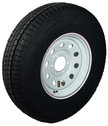 15'' x 6'' White Modular with Red and Blue Pin Stripe Trailer Wheel with Radial TrailFinder ST22575R15E Tire Mounted (6-5.5'' Bolt Circle)