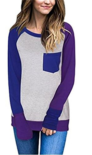 [HBMaida Casual Round Collar Long Sleeve Spliced Color Block Women's T-shirt] (Plus Size Baseball Girl Costume)
