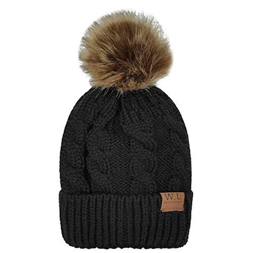- Whiteleopard Kid Beanie Hats Lining Pom Pom for Children -Slouchy Cable Knit Toddler Skull Hat Baby Ski Cap for Girls Boys (Black)