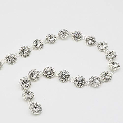 1Yard Silve Flowers Crystal Trim Rhinestone Chain Belt for DIY Clothes Accessory Dress Belts Headpiece Jewelry Decoration (Silver)