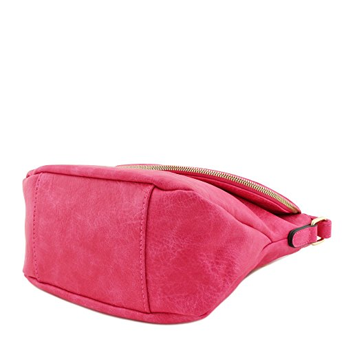 Flap Top Crossbody Fuchsia Bag Tassel Accent With qIz66w