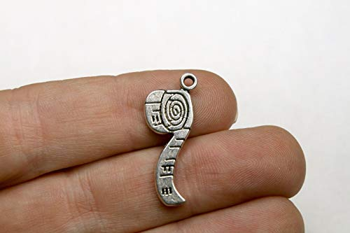 Pendant Jewelry Making 10 Measuring Tape Charms Antique Silver Tone Pendants 21 x 11 mm