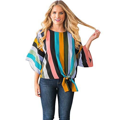 AIMTOPPY Women's Trumpet Sleeves Irregular Stripes Color Matching T-Shirt ()