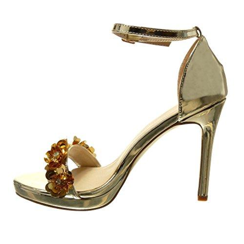 Angkorly - Zapatillas de Moda Sandalias Tacón escarpín stiletto sexy elegante mujer flores strass tanga Talón Tacón de aguja alto 10.5 CM - Oro