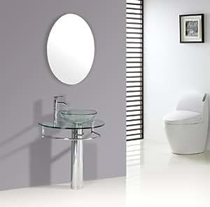 """30"""" Bathroom Pedestal Vanity Glass Vessel Sink Set ..."""