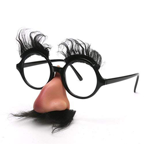 Disguise Glasses with Funny Nose Eyebrows Mustache Classic Disguise Puss Mustache Hair Costume ()