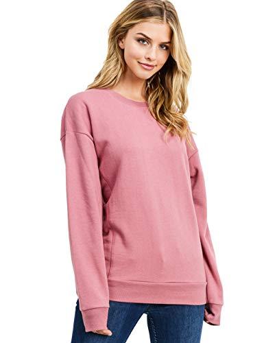 esstive Women's Ultra Soft Fleece Basic Lightweight Casual Solid Crew Neck Sweatshirt, Begonia Pink, X-Small