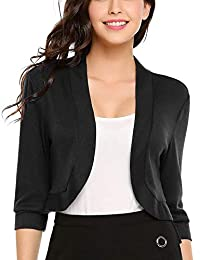 Meaneor Women 3/4 Sleeve Slim Fitted Cropped Open Front Shrug Bolero Cardigan Tops