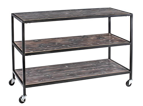 New Retails 3 Tier Table Distressed Wood Finish & casters 54'' W x 24'' D x 36 '' H by Distressed Wood Finish & casters