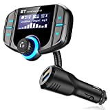 Bluetooth FM Transmitter,Wireless In-car Radio Adapter Hands-free Car Kit with 1.7 Inch Display, QC3.0 Quick Charger 2.4A Dual USB Ports, TF Card,AUX Input/Output Mp3/MP4 Player