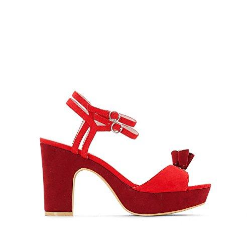 La Redoute Womens High-Heeled Tassel Trim Sandals Pink